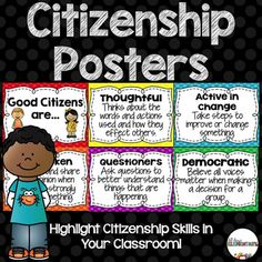 Citizenship Posters - Use this 26 page resource with your 2nd, 3rd, 4th, or 5th grade classroom or homeschool students. Establish a positive classroom climate and focus on citizenship. Students will better understand how Social Studies can be integrated into every subject. Posters include democratic, friendly, thoughtful, considerate, empathetic, questioners, listeners, outspoken, researchers, and more. {second, third, fourth, fifth graders}