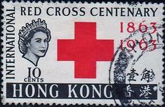 Hong Kong - Crown on Women stamps theme. International Red Cross Centenary, 1863-1963.