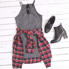 Red Plaid Pocket Collar Blouse