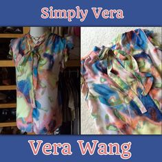 """G7) SIMPLY VERA VERA WANG NWT sheer top Brand NWT!  Measures: 21"""" pit to pit x 25.5""""L Size/Fit: Large TTS Condition: NWT Color: Multi Blue/peach/lime/pink, etc. Fabric: Poly (sheer) Unique features: Ruffle sleeves, ties at neck  **Notes: Perfect day to night top. Simply Vera Vera Wang Tops"""