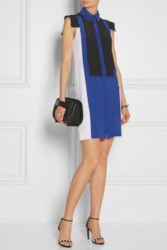 Karl Lagerfeld|Festa color-block silk-crepe dress|NET-A-PORTER.COM