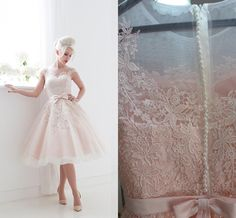 House of Mooshki 2015 Wedding Dresses Blush Tea Length Tulle And Lace Bridal Gown with Illusion Neckline And Cap Sleeves, $103.25 | DHgate.com
