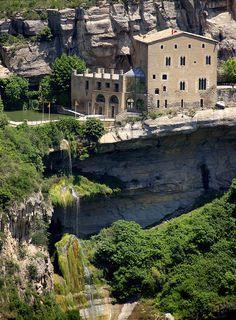"gothic monastery of ""Sant Miquel del Fai"" by the cliff - Bigues i Riells, Catalonia, Spain"
