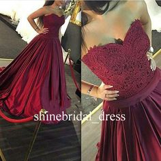Burgundy Quinceanera Dresses Lace Corset Satin A Line Wedding Prom Formal Gowns #UnbrandedGeneric #aline #Formal
