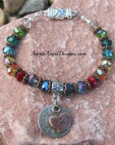 Personalized Rainbow Bridge Pet Memorial Bracelet - Auntie Angel Designs. Handstamping on the front with your pet's name, engraving on the back with your small message. $49.50.  Includes free shipping within the U.S.  Personalized pieces make the best gifts, as your pet is as individual as you are. Always remembered, forever in our hearts.