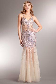 Prom Dress AC227 Full Legth Trumpet Shape Prom and Evening Dress has Sweetheart Neckline featuring Beaded Straps, Gemstone Embellished Bodice and Semi Sheer Skirt. https://www.smcfashion.com/wholesale-prom-dresses/prom-dress-ac227