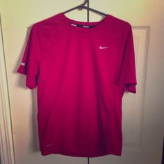 Magenta nike dri-fit large. Slightly worn Nike run-fit shirt. Magenta color. Size large.  Good for cardio and yoga workouts! Nike Tops Tees - Short Sleeve