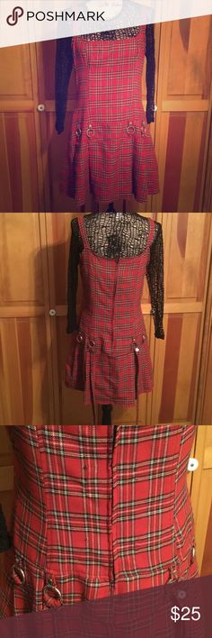 Lip Service Plaid Dress & Black Fishnet Shirt Punk Super cute! Both are Size XL. Come from a smoke-free environment. Gently used, there are a few small picks on the back of the dress, tried to capture in photos. 2 piece, sold as seen in photos. Lip Service & Monster Dresses Mini