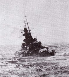 KMS Scharnhorst in heavy North Atlantic swell, on her commerce raiding cruise with sister ship KMS Gneisenau.