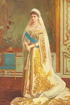 Painting of Empress Alexandra Feodorovna of Russia in a splendid Russian court dress. Alexandra Feodorovna, Roshe, Anastasia Costume, Court Outfit, Court Dresses, Tsar Nicholas, Russian Orthodox, Imperial Russia, Russian Fashion