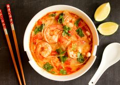 This Asian Tom Yum Soup with Shrimps is totally addictive!!! It's a perfect weekday meal, it can be done in under 20 minutes.