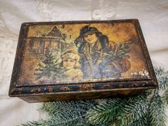 Antique French tin box with Christmas and Winter scenes, vintage french tin box, romantic tin box, collectable tin box Xmas theme, shabby by villavillacolle on Etsy
