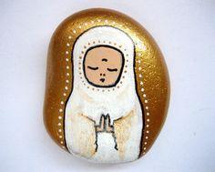 Items similar to Jizo stone on Etsy Painted Garden Rocks, Painted Stones, Stone Painting, Rock Painting, Stone Art, Rock Art, Faces, Cartoon, Painted Rocks
