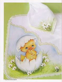 .....................................................................: Ideias da Revista Susy Baby Painting, Fabric Painting, Embroidery Flowers Pattern, Hand Embroidery, Easter Illustration, Cute Animal Drawings, Chalkboard Art, Painting Patterns, Baby Design