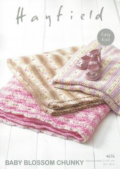 Hayfield 4676 - Blankets in Hayfield Baby Blossom Chunky Pattern - The Crafty Knitter
