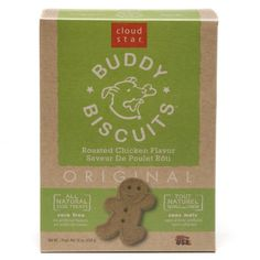 $25.43-$33.00 The original low allergen treat, Original Buddy Biscuits are natural and wholesome, and dogs love them too. Plus they come in fun ginger kid shapes.
