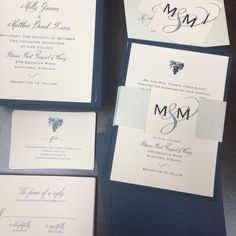 Pale pink and navy invitations with a shimmery, patterned belly band and monogrammed seal.