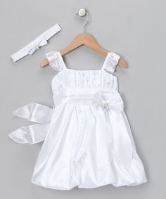 Take a look at this White Bubble Dress & Headband - Infant by Cinderella Couture on #zulily today!