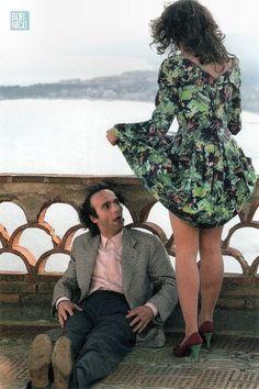 """Roberto Benigni & Nicoletta Braschi sul set del film """"IL PICCOLO DIAVOLO"""" ...  <3"""