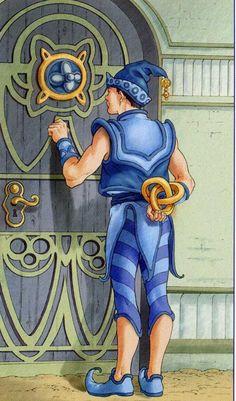 Page of Pentacles - Tarot of the 78 Doors Page Of Pentacles, Door Decks, Knight Of Cups, All Tarot Cards, Tarot Major Arcana, Free Tarot, Deck Of Cards, Card Deck, Visionary Art