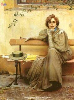 Painting by Vittorio Corcos (Italian 1859-1933).
