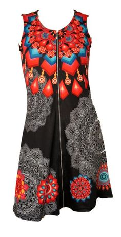 Robe imprimé gris et mandala coloré http://www.yokaso.fr/robes/931-robe-imprime-gris-et-mandala-colore.html