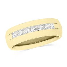 This mens 14 ct. t.w. princesscut diamond seven stone wedding band is set in 14K gold. The inside of the 5.0mm wide band is rounded for comfort. This ring is available in size 10 only.                                     View product details.                              #Fashion  #Jewelry