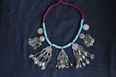 collar abalorios turquesa etnico boho tribal por azulcasinegro