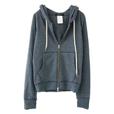 Stone wash hoodie (345 AED) ❤ liked on Polyvore featuring outerwear, jackets, tops, hoodies and blue jackets