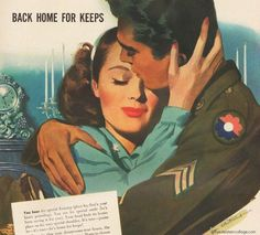 For hundreds of thousands of families around the world, 1945 marked the first happy Christmas celebrated together after the sad and lonely years of war. Romance Art, Vintage Romance, Vintage Love, Vintage Beauty, Vintage Advertisements, Vintage Ads, Vintage Posters, Vintage Photos, Vintage Couples