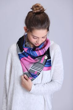 Style!! Retro pink, black & blue fashion scarf with button!