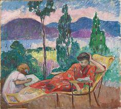 'Terrasse à Cannes', huile sur toile de Henri LEBASQUE (1865-1937)