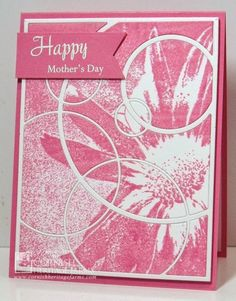 Happy Mother's Day created by Frances Byrne using Mod Circle Frame - Simon Says Stamps; MFT Die-namics Fishtail Flags Stax; On Mother's Day Affections Insert - Tonic Studios.  Image Daisy Backgrounder - Cornish Heritage Farms
