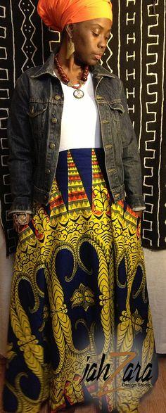 High Waist African Spirit Full Maxi Skirt door JahzaraDesignStudio, $110.00
