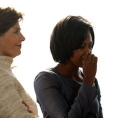 First Lady Michelle Obama uses a tissue as she sits with former First Lady Laura Bush (L) at the Flight 93 National Memorial in Shanksville, PA, September during a service of remembrance. Flight 93 Memorial, Laura Bush, Daily Diary, Michelle Obama, Memories, Lady, September 11, Diary Book, Memoirs