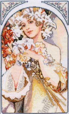 """Borduurpatroon Kruissteek Mucha *Embroidery Cross Stitch Pattern ~""""Flower""""- klik op knop """"Bezoeken"""" voor de 10 patronen~"""