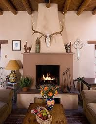 Would love to go back to Santa Fe. You'll be charmed by the allure of the southwest when you admire the rustic history and enchanting landscapes of Santa Fe. (Photo courtesy of Hacienda Nicholas. Southwestern Home, Southwest Decor, Southwestern Decorating, Southwest Style, Southwestern Fireplaces, Boho Glam Home, New Mexico Style, New Mexico Homes, Spanish Revival