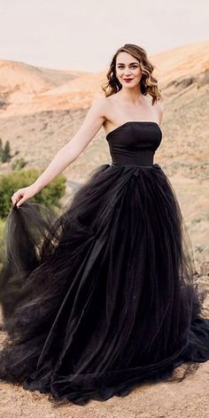 black wedding dresses a line straight across tulle skirt french knot couture Black Bridal Dresses, Fancy Wedding Dresses, Wedding Dress Styles, Wedding Gowns, Wedding Skirt, White Tuxedo Wedding, Wedding Black, Black Weddings, Gothic Wedding