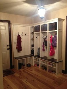 L shaped cubbies for the mud room.