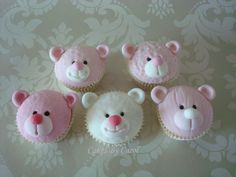 Pink Teddy Cupcakes - by cakesbycarol @ CakesDecor.com - cake decorating website