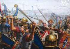 Naval battle romans against barbarians