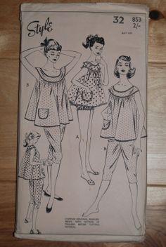 1960s vintage nightwear teddy, PJ's, baby doll
