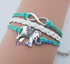 Silver elephant Bracelet,infinity Bracelet,white Braid Leather mint rope Best gift for bestfriend Graduation Party Turquoise Aqua by LovelyGiftidea, $2.99