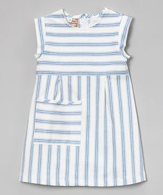 Love this Blue Stripe Twill Pocket Dress - Toddler & Girls on #zulily! #zulilyfinds