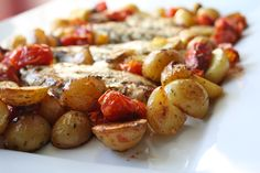 Team Canada Chicken via food from the Chicken roasted with gorgeous grape tomatoes and baby potatoes. Baby Potatoes, Roasted Chicken, Thing 1 Thing 2, Tomatoes, Olympics, Canada, Dishes, Vegetables, Drinks