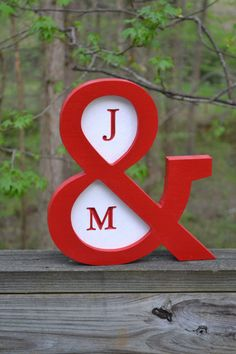 Ampersand with Initials Red and White wedding by ProfessorFinley, $35.00