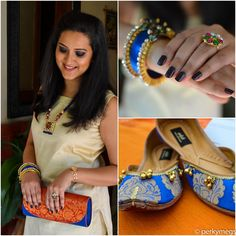 Super stylish modern ethnic look with beige silk kurta and ankle pants. Accesorized with trendy Indian Jewellery for a unique statement look. Go ethnic in super chic way. Read full post for more.
