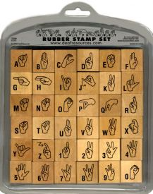 ASL sign language deaf rubber stamp alphabet