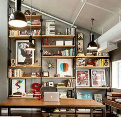 shelving unit + desk space