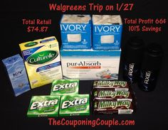 Walgreens Shopping Trip on 1-27 ~ Saved 101% - http://www.thecouponingcouple.com/walgreens-shopping-trip-on-1-27-14/  We had a nice little trip to Walgreens this week! We did not make it until Monday evening but they still had everything in stock! We had a profit of 66¢ this week and saved 101%!  You can get the FULL BREAKDOWN at the link below ► http://www.thecouponingcouple.com/walgreens-shopping-trip-on-1-27-14/